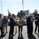 مراسم استقبال از مسافرین و زائرین اقا امام رضا (ع) در شهرستان سرخه